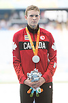 RIO DE JANEIRO - 11/9/2016:  Liam Stanley receives his silver medal for the Men's 1500m - T37 Final at the Olympic Stadium during the Rio 2016 Paralympic Games in Rio de Janeiro, Brazil. (Photo by Matthew Murnaghan/Canadian Paralympic Committee