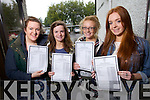 Doireann O'Carroll, Aileen Murphy, Deirdre Glavin and Leah Kelly all from Tralee, Presentation Tralee Leaving Cert students who collected their results on Wednesday.