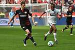 14.04.2018, BayArena, Leverkusen , GER, 1.FBL., Bayer 04 Leverkusen vs. Eintracht Frankfurt<br /> im Bild / picture shows: <br /> Lars Bender (Leverkusen #8), <br /> Gelson Fernandes (Frankfurt #5),  <br /> <br /> <br /> Foto &copy; nordphoto / Meuter