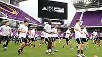 Orlando, Florida - Friday January 12, 2018: Team X players warm up. The 2018 adidas MLS Player Combine Skills Testing was held Orlando City Stadium.