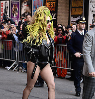 NEW YORK, NY - APRIL  2,2014: Lady Gaga visits The Late Show With David Letterman at the Ed Sullivan Theater, New York City ,April  2, 2014 in New York City.  HP/Starlitepics.