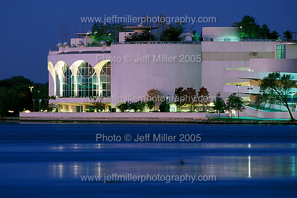 The Monona Terrace Community and Convention Center seen from the side across Lake Monona at dawn in downtown Madison, WI..Photo © Jeff Miller 2000 - all rights reserved.www.jeffmillerphotography.com  ?  608-250-2374.Date:  2000    File#:   color slide
