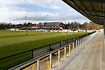View from The Tin Shed Stand looking towards the clubhouse at Blackwell Meadows. Darlington 1883 v Southport, National League North, 16th February 2019. The reborn Darlington 1883 share a ground with the town's Rugby Union club. <br /> After several years of relegations, bankruptcies, and ground moves, the club is fan owned, and back on an even keel in the National League North.<br /> A 0-0 draw with Southport was marred by a broken leg and dislocated knee suffered by Sam Muggleton, Darlington's on loan left back.<br /> Both teams finished the season in lower mid table.