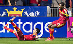 Real Salt Lake midfielder Javier Morales (11) celebrates his goal against Philadelphia Union with Real Salt Lake forward Olmes Garcia (13) in the first half Saturday, March 14, 2015, during the Major League Soccer game at Rio Tiinto Stadium in Sandy, Utah. (© 2015 Douglas C. Pizac)