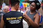 © Joel Goodman - 07973 332324 . 27/08/2016 . Manchester , UK . Preparations by Rainbow Noir ahead of the annual Pride Parade through Manchester City Centre as part of Manchester Gay Pride's Big Weekend . Photo credit : Joel Goodman