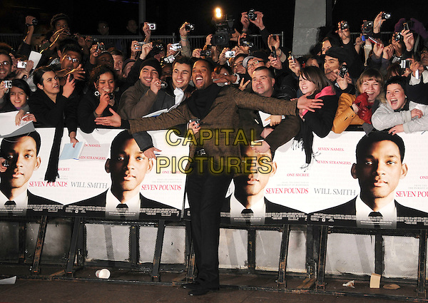 "WILL SMITH .Attending the UK Film Premiere of ""Seven Pounds"" at the Empire Cinema, Leicester Square, London, England, January 14th 2009..full length black  polo neck top brown plaid tweed check jacket blazer trousers fans posing cameras  .CAP/CAS.©Bob Cass/Capital Pictures"