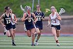 San Diego, CA 04/19/10 - Megan Lax (La Costa Canyon #13), Kiki Gibson (La Costa Canyon #3) and Caroline Paulson (Torrey Pines #13) in action during the Torrey Pines-La Costa Canyon Girls Lacrosse game at Torrey Pines.