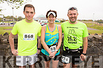 Ready for road at the Tralee Marathon on Saturday morning. L to r: Eamon Lyons (Abbeyfeale), Angela Murphy (Cork) and Brian Whelan (Wexford).
