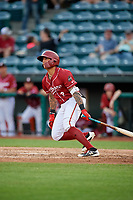 Altoona Curve second baseman Stephen Alemais (2) follows through on a swing during a game against the Richmond Flying Squirrels on May 15, 2018 at Peoples Natural Gas Field in Altoona, Pennsylvania.  Altoona defeated Richmond 5-1.  (Mike Janes/Four Seam Images)