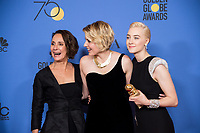 For BEST MOTION PICTURE &ndash; COMEDY OR MUSICAL, the Golden Globe is awarded to &quot;Lady Bird,&quot; directed by Greta Gerwig. Laurie Metcalf, Greta Gerwig and Saoirse Ronan pose with the award backstage in the press room at the 75th Annual Golden Globe Awards at the Beverly Hilton in Beverly Hills, CA on Sunday, January 7, 2018.<br /> *Editorial Use Only*<br /> CAP/PLF/HFPA<br /> &copy;HFPA/PLF/Capital Pictures