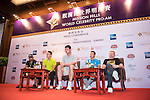 (L-R) Allen Iverson, Ken Chu, Yao Ming, Tenniel Chu, Boris Becker during the Sports Legends Press Conference on the sidelines of the World Celebrity Pro-Am 2016 Mission Hills China Golf Tournament on 22 October 2016, in Haikou, China. Photo by Weixiang Lim / Power Sport Images