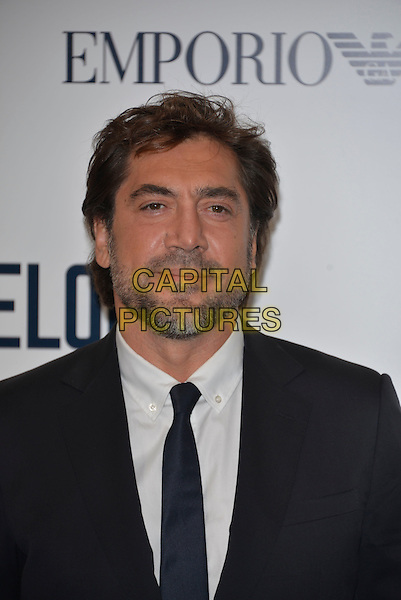Javier Bardem<br /> 'The Counselor' special screening at Odeon West End cinema, London, England, UK, 3rd October 2013.<br /> film premiere portrait headshot beard facial hair grey gray suit white shirt tie black blue<br /> CAP/PL<br /> &copy;Phil Loftus/Capital Pictures