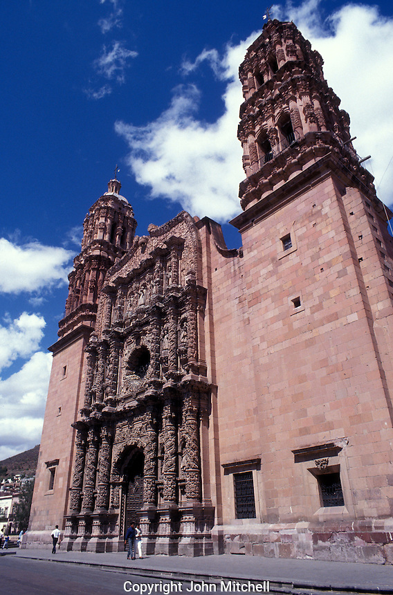 The baroque-style facade of the 18th century cathedral in the city of Zacatecas, Mexico. The historic centre of Zacatecas is a UNESCO World Heritage site.