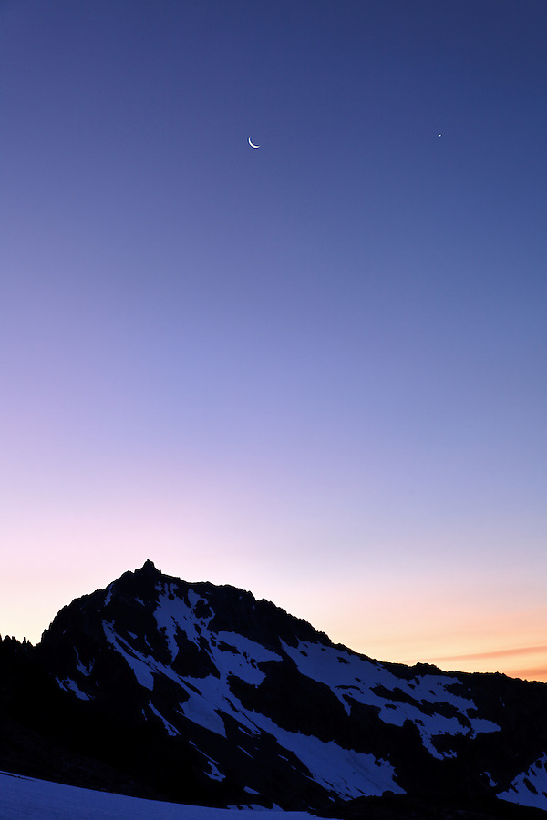 Moon above Buckner Mountain from Sahale Arm, North Cascades National Park, Washington State, USA