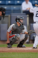 Aberdeen Ironbirds catcher Maverick Handley (48) during a NY-Penn League game against the Staten Island Yankees on August 22, 2019 at Richmond County Bank Ballpark in Staten Island, New York.  Aberdeen defeated Staten Island 4-1 in a rain shortened game.  (Mike Janes/Four Seam Images)
