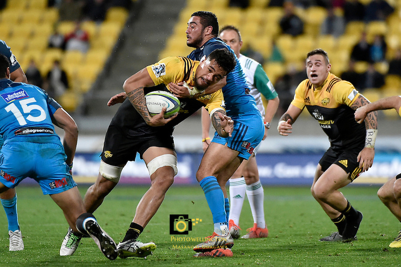 Hurricanes' Vaea Fifita in action during the Super Rugby - Hurricanes v Blues at Westpac Stadium, Wellington, New Zealand on Saturday 2 July 2016. <br /> Photo by Masanori Udagawa. <br /> www.photowellington.photoshelter.com.