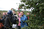 Climate change protesters at Climate Camp, Heathrow make their way to the BAA offices but are met by riot police.<br /> 2,000 protesters gathered at an impromptu camp set up to protest against the UK's airport expansion program.