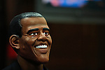 """A Runner disguised as Barack Obama takes part during the """"Run up to the Election"""" at New York Sport Club Gym in New York, United States. 08/10/2012. The second 2012 Presidential debate at Hofstra University will take place on Thursday night. Photo by Eduardo Munoz/ VIEWpress."""