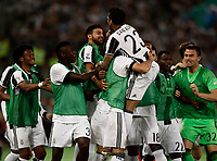 Calcio, Tim Cup: finale Juventus vs Lazio. Roma, stadio Olimpico, 17 maggio 2017.<br /> Juventus&rsquo; Dani Alves, top center, celebrates with teammates after scoring during the Italian Cup football final match between Juventus and Lazio at Rome's Olympic stadium, 17 May 2017.<br /> UPDATE IMAGES PRESS/Isabella Bonotto