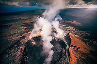 View from a helicopter tour over Pu'u O'o Crater, Kilauea Volcano, Hawai'i Island.