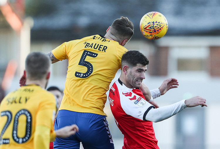 Fleetwood Town's Ched Evans competing with Charlton Athletic's Patrick Bauer  <br /> <br /> Photographer Andrew Kearns/CameraSport<br /> <br /> The EFL Sky Bet League One - Fleetwood Town v Charlton Athletic - Saturday 2nd February 2019 - Highbury Stadium - Fleetwood<br /> <br /> World Copyright © 2019 CameraSport. All rights reserved. 43 Linden Ave. Countesthorpe. Leicester. England. LE8 5PG - Tel: +44 (0) 116 277 4147 - admin@camerasport.com - www.camerasport.com