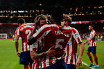 Kieran Trippier (L) and Thomas Teye of Atletico de Madrid celebrate goal during La Liga match between Atletico de Madrid and SD Eibar at Wanda Metropolitano Stadium in Madrid, Spain.September 01, 2019. (ALTERPHOTOS/A. Perez Meca)