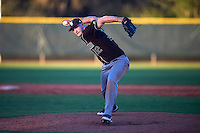 St. Bonaventure Bonnies relief pitcher T.J. Baker (32) delivers a pitch during a game against the Dartmouth Big Green on February 25, 2017 at North Charlotte Regional Park in Port Charlotte, Florida.  St. Bonaventure defeated Dartmouth 8-7.  (Mike Janes/Four Seam Images)