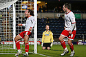 Lawrie Wilson of Stevenage (2) celebrates scoring the winning goal with Chris Beardsley. - Wycombe Wanderers v Stevenage - Adams Park, High Wycombe - 31st December 2011  .© Kevin Coleman 2011