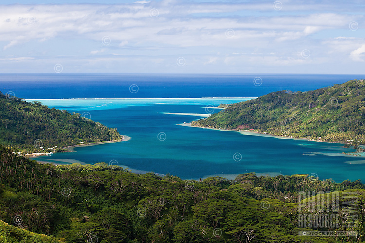 View of Haamene Bay and surrounding reefs of Tahaa Island