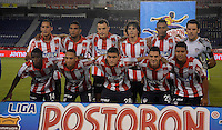 BARRANQUIILLA -COLOMBIA-02-11-2014. Jugadores de Atlético Junior posan para una foto previo al partido con  Once Caldas por la fecha 17 de la Liga Postobón II 2014 jugado en el estadio Metropolitano Roberto Meléndez de la ciudad de Barranquilla./ Players of Atletico Junior pose to a photo prior the match against Once Caldas for the 17th date of the Postobon League II 2014 played at Metropolitano Roberto Melendez stadium in Barranquilla city.  Photo: VizzorImage/Alfonso Cervantes/STR