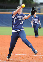 Florida International University right handed pitcher Jenn Gniadek (18) plays against the University of Louisville which won the game 4-2 on February 11, 2012 at Miami, Florida. .