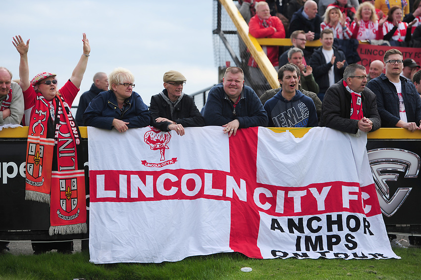Lincoln City fans during the second half<br /> <br /> Photographer Chris Vaughan/CameraSport<br /> <br /> Vanarama National League - Southport v Lincoln City - Saturday 29th April 2017 - Merseyrail Community Stadium - Southport<br /> <br /> World Copyright &copy; 2017 CameraSport. All rights reserved. 43 Linden Ave. Countesthorpe. Leicester. England. LE8 5PG - Tel: +44 (0) 116 277 4147 - admin@camerasport.com - www.camerasport.com