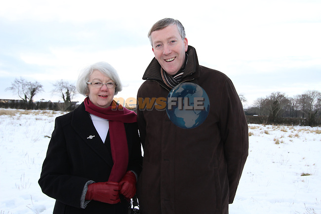 Former Fatima NS. Principal Ann Barden with Fr. Nulty at the Turning of the First Sod on the Site of the new school on the Bryanstown Crossroute...(Photo credit should read Jenny Matthews www.newsfile.ie)....This Picture has been sent you under the conditions enclosed by:.Newsfile Ltd..The Studio,.Millmount Abbey,.Drogheda,.Co Meath..Ireland..Tel: +353(0)41-9871240.Fax: +353(0)41-9871260.GSM: +353(0)86-2500958.email: pictures@newsfile.ie.www.newsfile.ie.