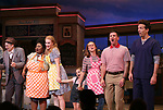 Will Swenson, John Cullum, Maia Nkenge Wilson, Betsy Wolfe, Victoria Collett, Caitlin Houlahan, David Josefsberg and Jason Mraz take a bow at the curtain call of Broadway's 'Waitress' at The Brooks Atkinson Theatre on November 3, 2017 in New York City.