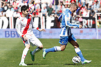 Rayo Vallecano's Jose Carlos Fernandez (l) and Real Sociedad's Antoine Griezman during La Liga match.April 14,2013. (ALTERPHOTOS/Acero)