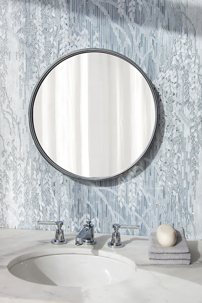 Weeping Willow, a waterjet and hand-cut Jewel glass mosaic, shown in Pearl, Moonstone, and Opal, designed by Kevin O'Brien for the Broad Street™ collection by New Ravenna.