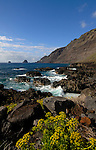 Waves crashing on rocks and cliffs. Roques de Salmor, El Hierro, Canary Islands.