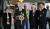 "United States President Bill Clinton, center left, flanked by Tom Donohue, President & CEO, U.S. Chamber of Commerce, center right, U.S. President Barack Obama, right, and Randi Weingarten ,President, American Federation of Teachers, left, speaks about  job creation and energy efficiency after touring a ""trophy"" office building at 815 Connecticut Avenue, NW, Friday, December 2, 2011 in Washington, DC.  President Obama has recruited Clinton and major corporations including 3M Co. and Alcoa Inc. in a $4 billion initiative to cut energy costs in buildings and encourage hiring for construction jobs.  To date, the energy efficiency measures in this building that have been completed are saving almost $200,000 per year, or over $0.99 per square foot.  .Credit: Olivier Douliery / Pool via CNP"