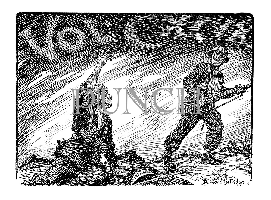 Volume CXCIX (A wounded French soldier encouraging a British comrade to carry on)