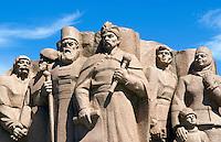 Statues of Ukraine heroes at Rainbow Arch, Kiev, Ukraine