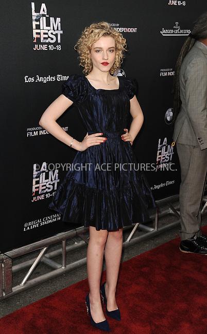 WWW.ACEPIXS.COM<br /> <br /> June 10 2015, Los Angeles Ca<br /> <br /> Julia Garner arriving at the 'Grandma' premiere at Regal Cinemas on June 10 2015 in Los Angeles Ca.<br /> <br /> Please byline: Peter West/ACE Pictures<br /> <br /> ACE Pictures, Inc.<br /> www.acepixs.com<br /> Email: info@acepixs.com<br /> Tel: 646 769 0430