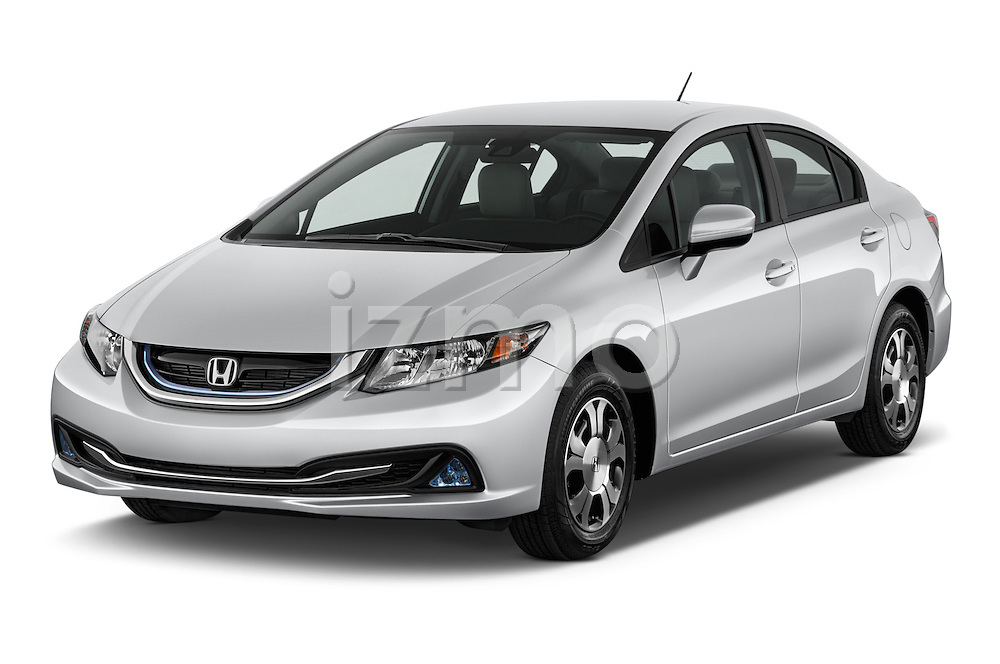 2014 Honda Civic Hybrid Hybrid CVT 4 Door Sedan Angular Front stock photos of front three quarter view