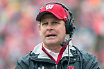 Wisconsin Badgers assistant coach Chris Haering looks on during an NCAA College Big Ten Conference football game against the Purdue Boilermakers Saturday, October 14, 2017, in Madison, Wis. The Badgers won 17-9. (Photo by David Stluka)