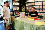 "BAL HARBOUR, FL - SEPTEMBER 17: Christian Slater (L) sighted during Perez Hilton (R) book signing ""The Boy With The Pink Hair'' at Books and Books on September 17, 2011 in Bal Harbour, Florida.  (Photo by Johnny Louis/jlnphotography.com)"