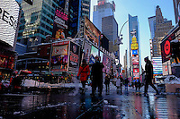 People visit Times Square after the pass of the winter storm JONAS, in New York, 01/24/2016. Photo by VIEWpress