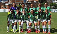 MEDELLÍN - COLOMBIA ,13-07-2019:Formación del Atléico Nacional femenino.Acción de juego entre los equipos Atlético Nacional femenino y el Once Caldas femenino  durante partido por la fecha 1 de la Liga  Águila Femenina 2019 jugado en el estadio Atanasio Girardot de la ciudad de Medellín. /Team of Atletico Nacional womens.Action game between Atletico Nacional womens and Once Caldas womens during match for date 1 of the women's soccer championship of La Liga Águila 2019 played at the Atanasio Girardot stadium in the city of Medellín. Photo: VizzorImage / Cristian Álvarez / Contribuidor.
