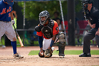 GCL Astros catcher Nerio Rodriguez (58) during a Gulf Coast League game against the GCL Mets on August 10, 2019 at FITTEAM Ballpark of the Palm Beaches Training Complex in Palm Beach, Florida.  GCL Astros defeated the GCL Mets 8-6.  (Mike Janes/Four Seam Images)