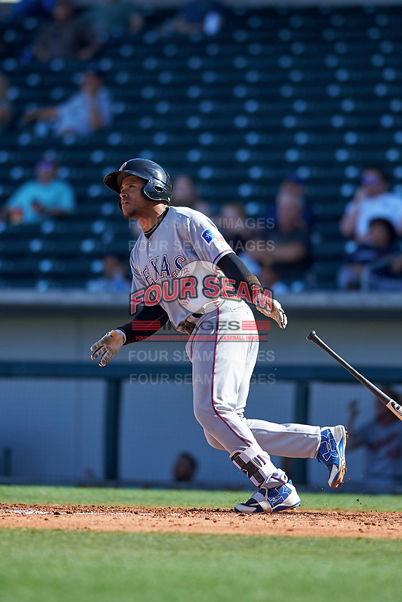 Surprise Saguaros second baseman Luis La O (9), of the Texas Rangers organization, hits a home run during an Arizona Fall League game against the Mesa Solar Sox on October 20, 2017 at Sloan Park in Mesa, Arizona. The Solar Sox walked-off the Saguaros 7-6.  (Zachary Lucy/Four Seam Images)