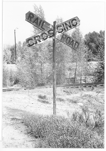 Railroad crossing sign and track behind it.<br /> RGS