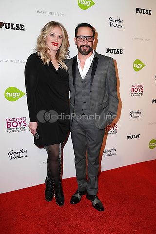 "HOLLYWOOD, CA - A.J. McLean, Rochelle Karidis at the Backstreet Boys ""Show 'Em What You're Made Of"" Premiere at the Arclight in Hollywood, CA  on January 29, 2015. Credit: David Edwards/DailyCeleb/MediaPunch"
